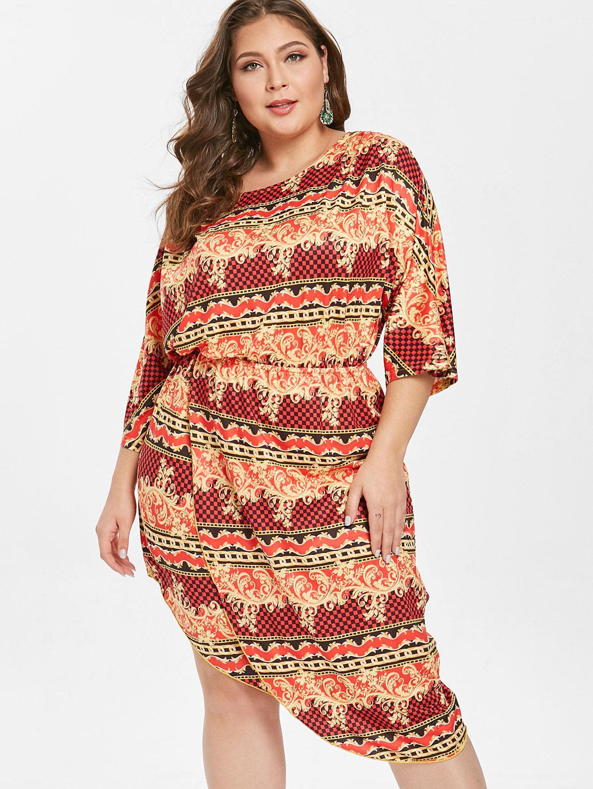 Printed Plus Size Asymmetrical Dress