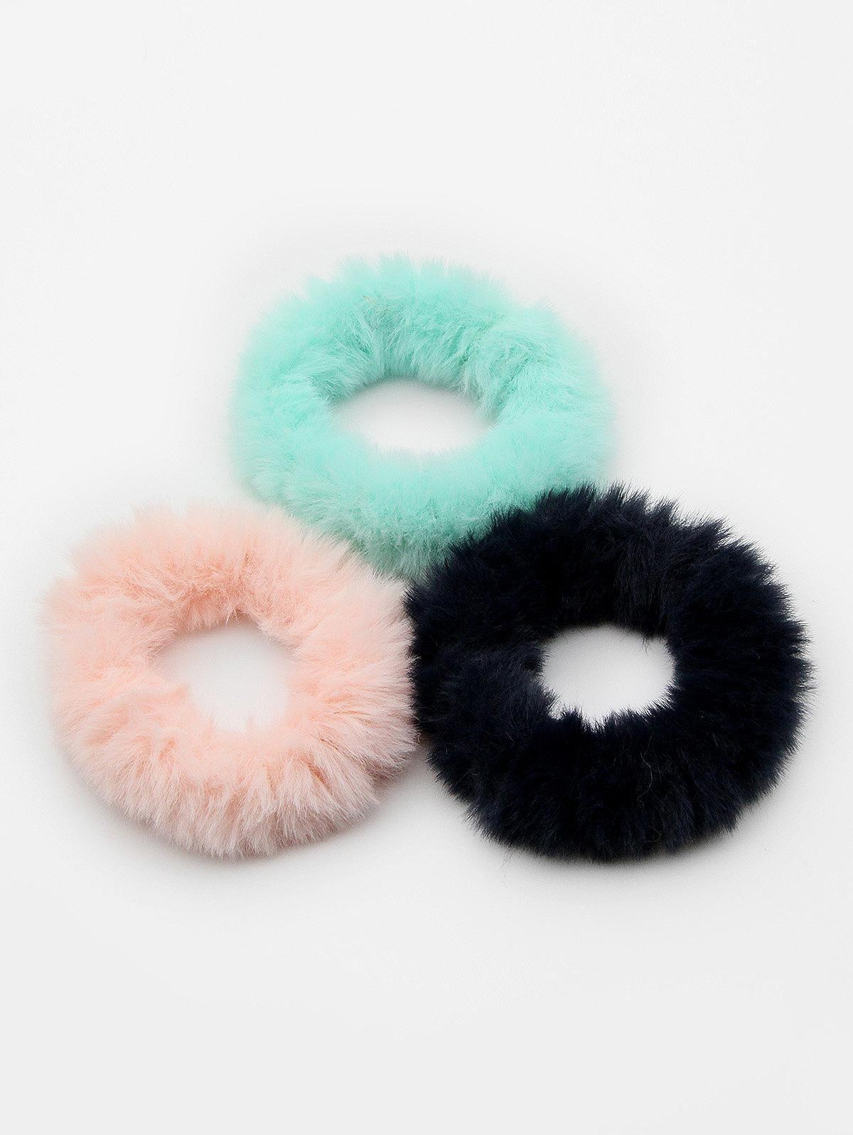 3 Pcs Cute Faux Fur Ponytail Hair Band