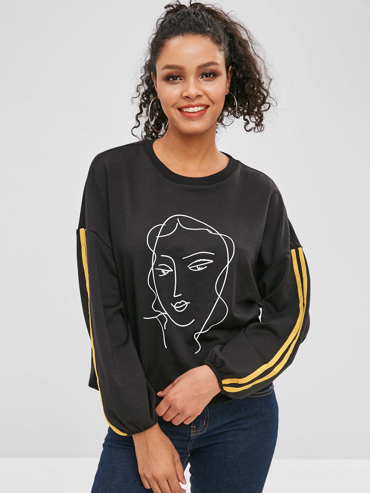 Girl Print Striped Drop Shoulder Sweatshirt