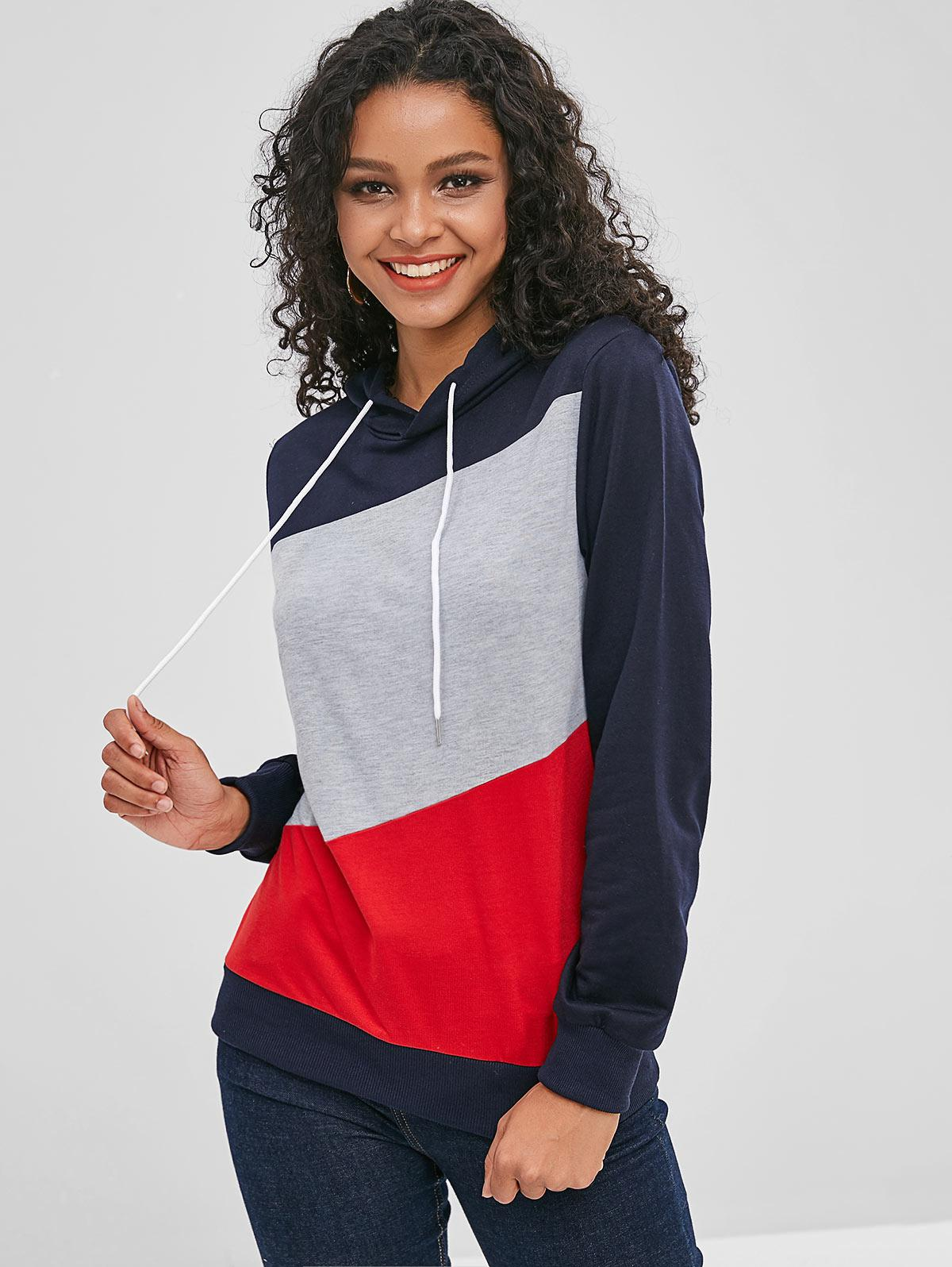 Long Sleeve Color Block Drawstring Hoodie
