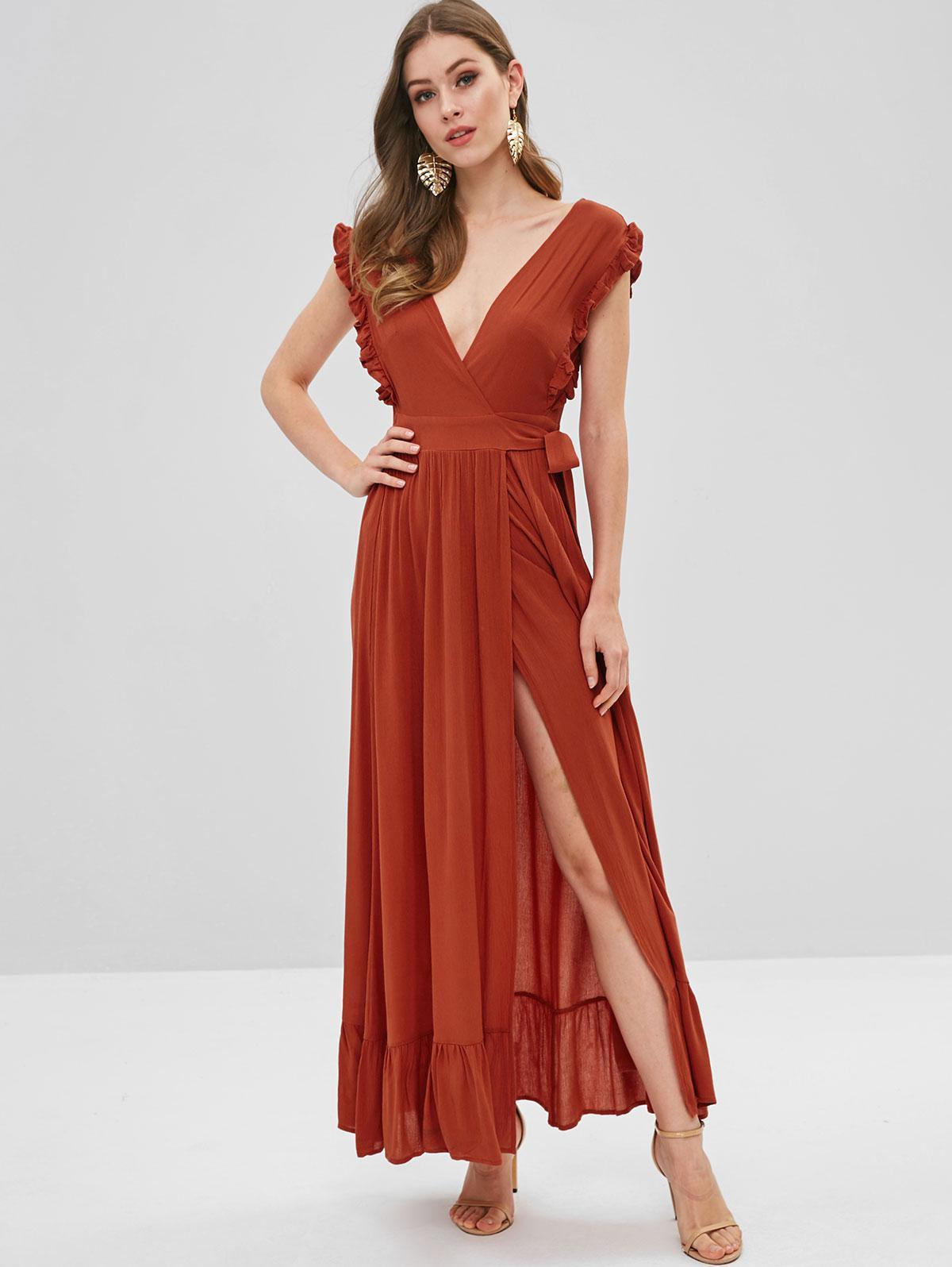 Ruffles Wrap Maxi Dress, Orange salmon