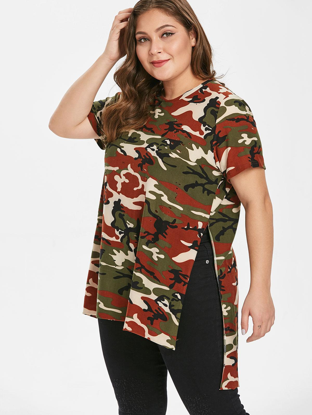 Camo Ripped Side Slit Plus Size T-shirt, Acu camouflage