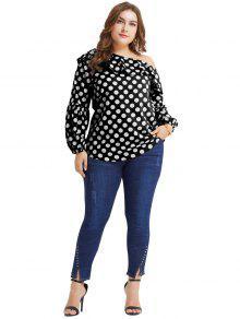 7efee4adc1c 23% OFF  2019 Skew Collar Plus Size Polka Dot Blouse In BLACK 2X