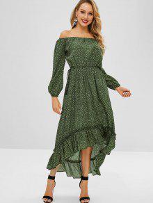 فستان ZAFUL ذو الياقة المنخفضة منقط - أخضر غامق L