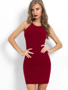 الرسن العنق عادي اللباس Bodycon - نبيذ احمر M