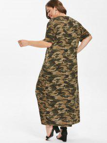 fa92ae6d3e659 50% OFF] 2019 Grommets Camo Plus Size T-shirt Dress In ACU ...