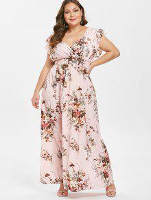 الكشكشة الأزهار بالاضافة الى حجم فستان ماكسي - زهري 2x