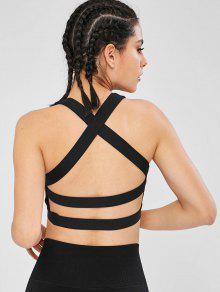 عارية الذراعين كريسس عبر شبكة تصميم الرياضة الصدرية - أسود L