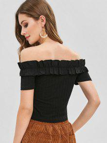 c2c65b22ae9 45% OFF] 2019 Frilled Ribbed Off The Shoulder Crop Top In BLACK | ZAFUL