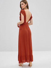 f8c8336c348 35% OFF   HOT  2019 Ruffles Wrap Maxi Dress In ORANGE SALMON
