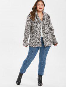 33ad79f63cb4 40% OFF] 2019 Plus Size Leopard Button Up Coat In LEOPARD | ZAFUL