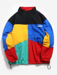 لون كتلة راجلان كم مبطن معطف - متعددة-a L