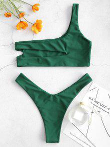cc85e22c06bbfa 24% OFF   HOT  2019 ZAFUL One Shoulder Cut Out Bralette Bikini Set ...