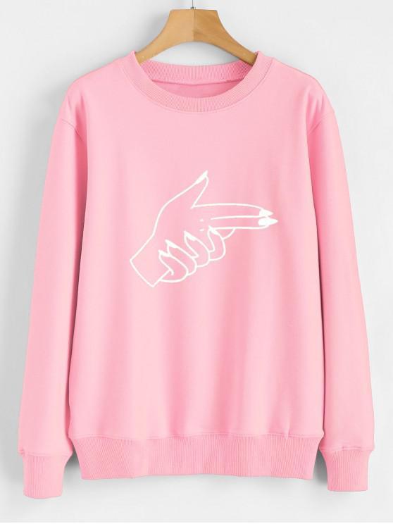 Sweat-shirt à imprimé graphique avec gestes contrastants - Rose  XL