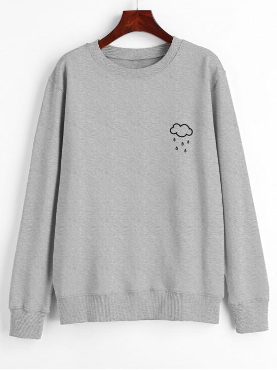 Wolken Regen Druck Grafik Pullover Sweatshirt - Grau 2XL