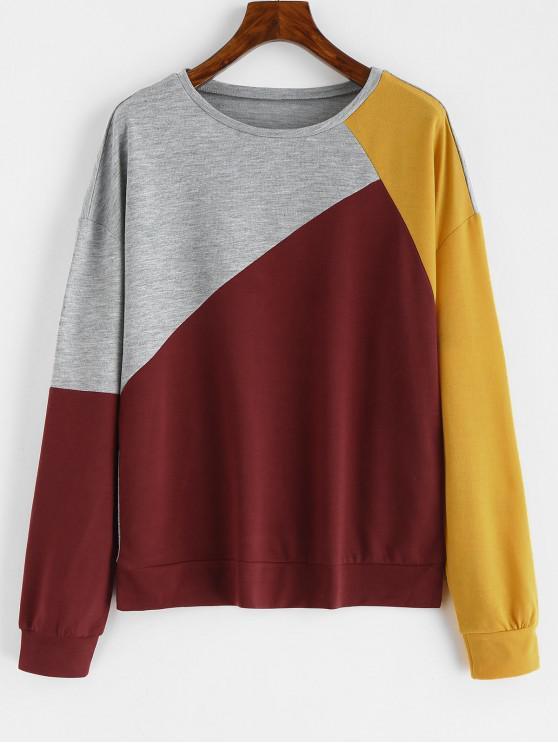 Sudadera con capucha color block - Multicolor S