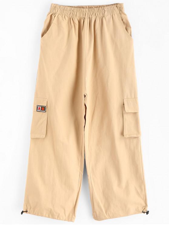Calças de cintura alta Patch cordão tornozelo - Bronzeado Um Tamanho