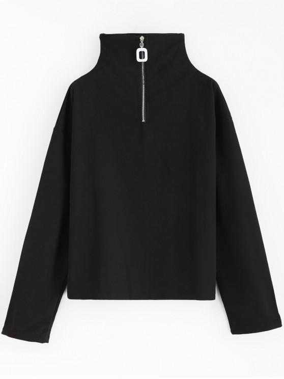 womens Hardware Half Zip Sweatshirt - BLACK ONE SIZE