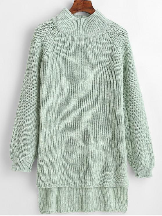 Suéter largo de cuello alto y falso alto - Lirio Azul Claro Talla única