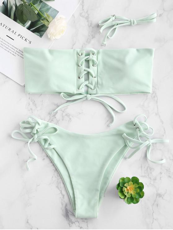 Bikini Acolchado con Cordones ZAFUL - Luz Aguamarina S