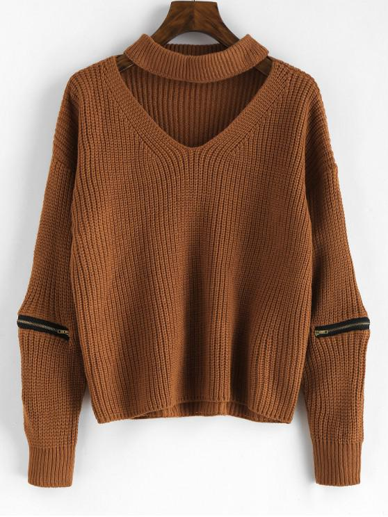 shops Pullover Zippered Choker Sweater - BROWN ONE SIZE