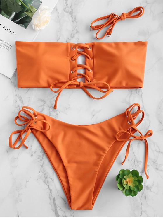 ZAFUL  Gepolstertes Bikini-Set mit Schnürung - Schokoladen L