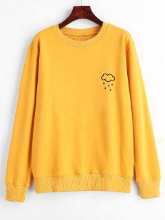Wolken-Regen-Druck-grafisches Pullover-Sweatshirt - Gelb M