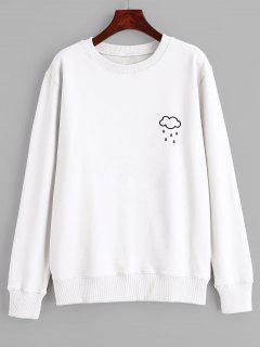 Sudadera Con Capucha Y Gráfico De Cloud Rain - Blanco L