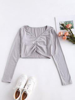 Long Sleeve Crop Ruched Tee - Gray Cloud M