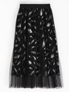 Feather Pleated Skirt - Black