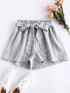 High Waisted Belted Striped Shorts - Gray L