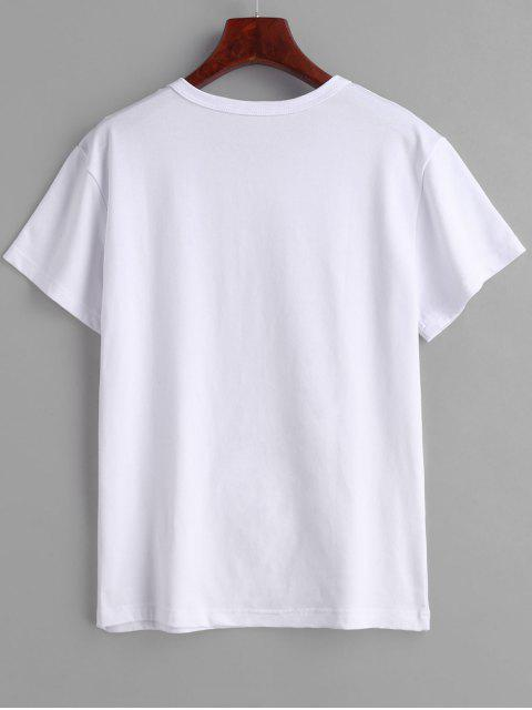 women Chest Graphic Tee - WHITE L Mobile