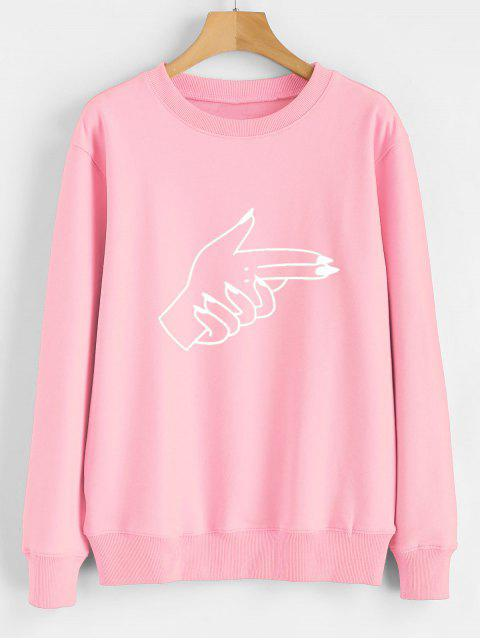 ladies Contrasting Gesture Print Graphic Pullover Sweatshirt - PINK XL Mobile
