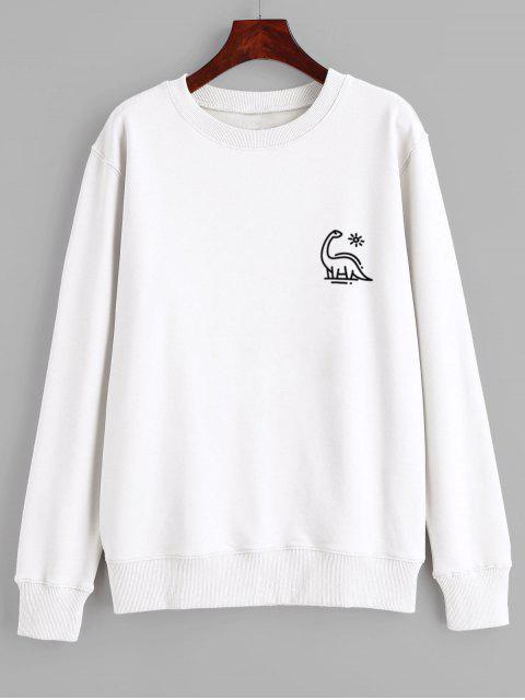 shops Animal Print Graphic Pullover Sweatshirt - WHITE XL Mobile