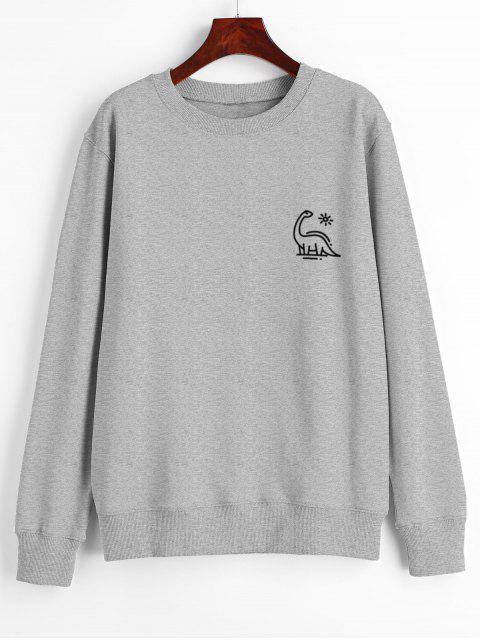 trendy Animal Print Graphic Pullover Sweatshirt - GRAY M Mobile