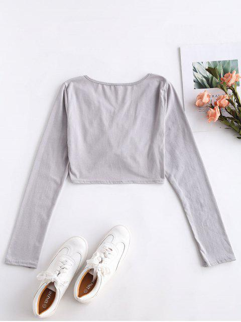 latest Long Sleeve Crop Ruched Tee - GRAY CLOUD XL Mobile