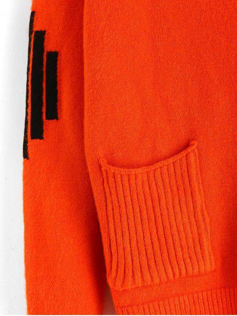 chic V Neck Striped Graphic Cardigan - PUMPKIN ORANGE ONE SIZE Mobile
