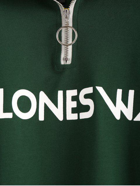 fashion Half-zip Feel Ones Way Graphic Sweatshirt - GREEN ONE SIZE Mobile
