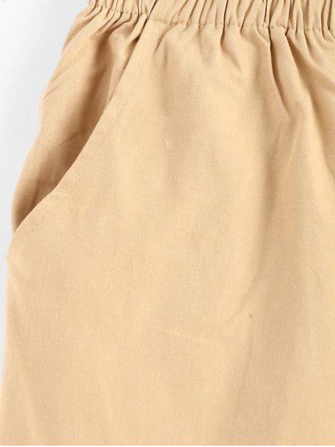 lady Patch Drawstring Ankle High Waisted Pants - TAN ONE SIZE Mobile
