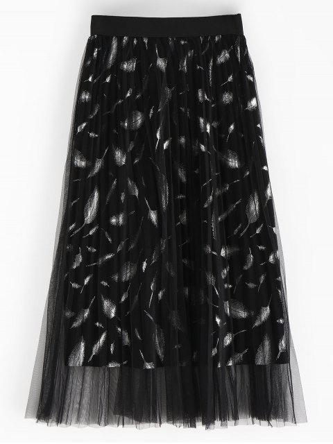 best Feather Pleated Skirt - BLACK ONE SIZE Mobile