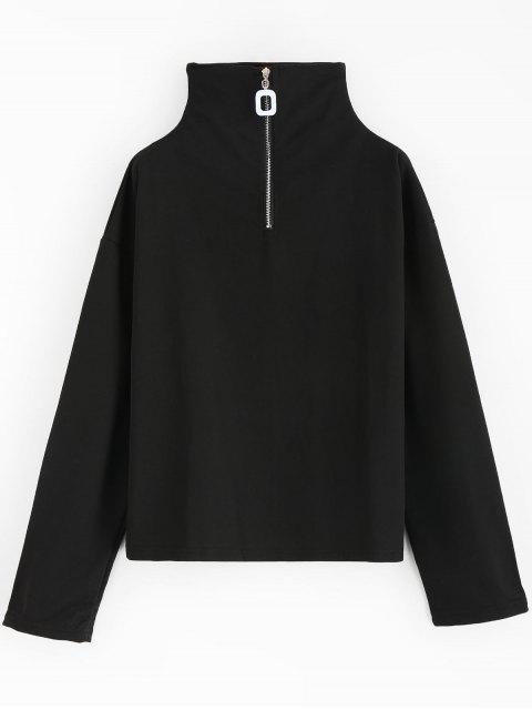womens Hardware Half Zip Sweatshirt - BLACK ONE SIZE Mobile