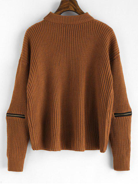 shops Pullover Zippered Choker Sweater - BROWN ONE SIZE Mobile