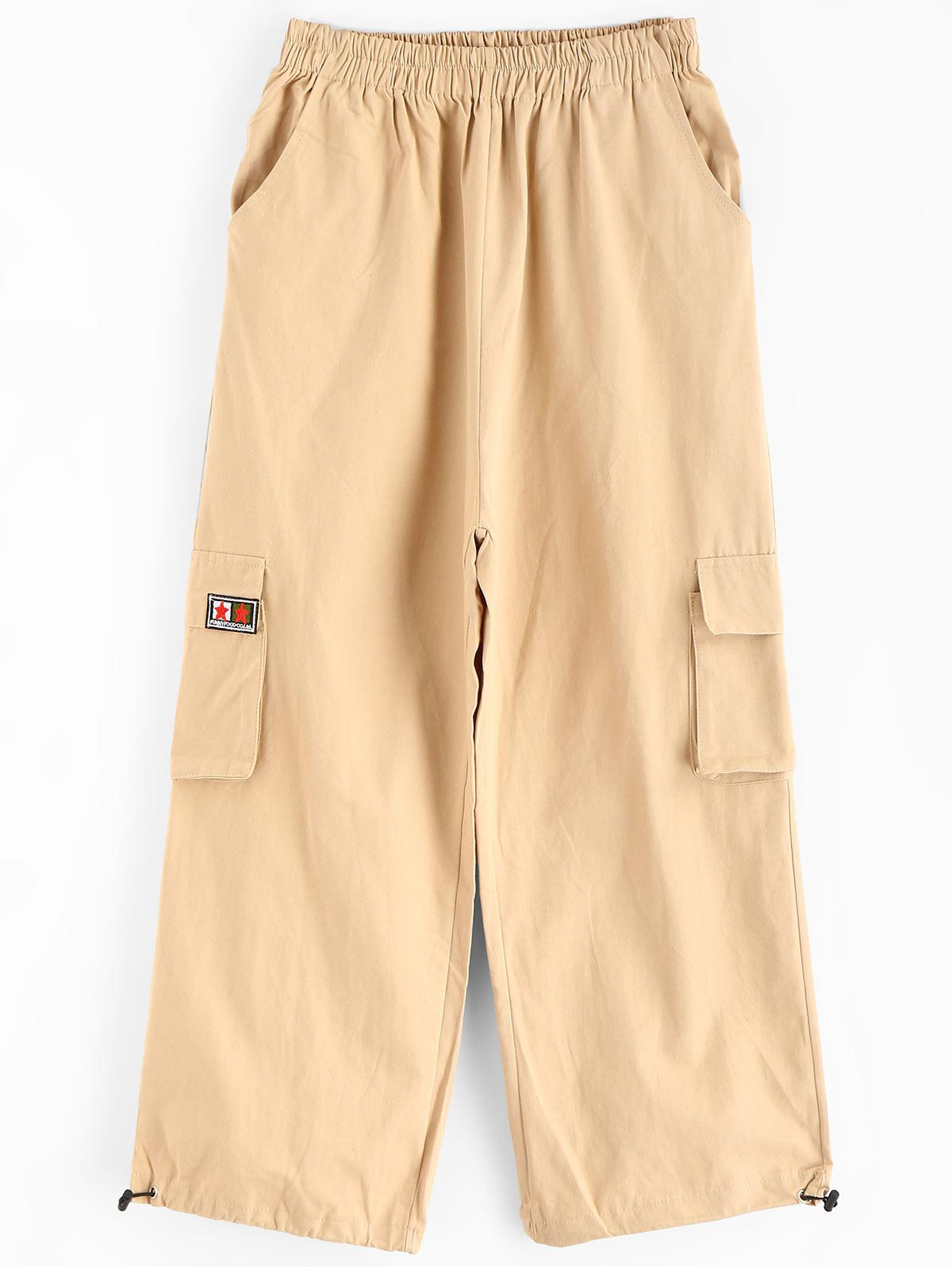 Patch Drawstring Ankle High Waisted Pants