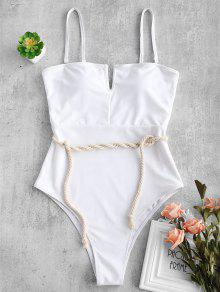 ZAFUL Rope V-wired Bandeau Swimsuit - أبيض L