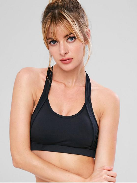 ladies Sport Mesh Racerback Athletic Bra - BLACK M