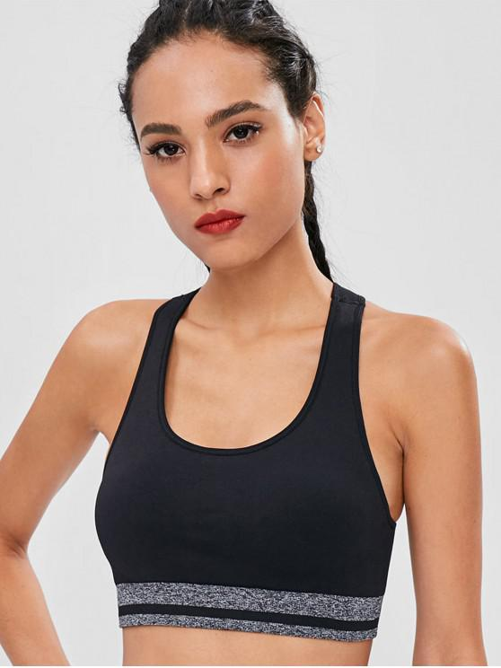 sale Seamless Racerback Contrast Padded Sports Bra - BLACK L
