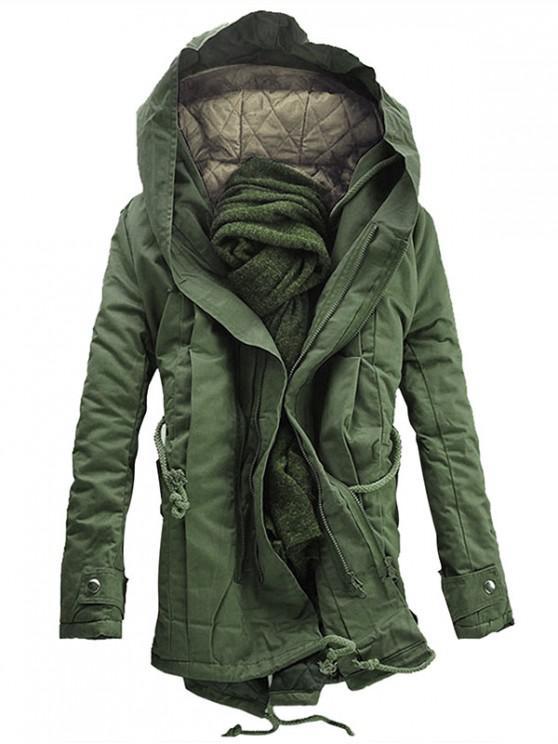 Cappotto Imbottito Con Cappuccio E Doppia Cerniera - Verde Dell'esercito M