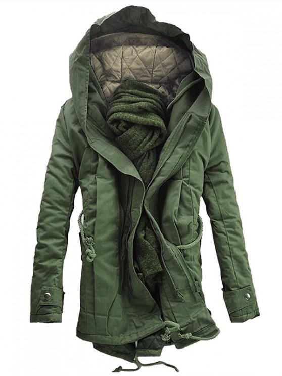 fancy Hooded Padded Double Zip Up Parka Coat - ARMY GREEN L