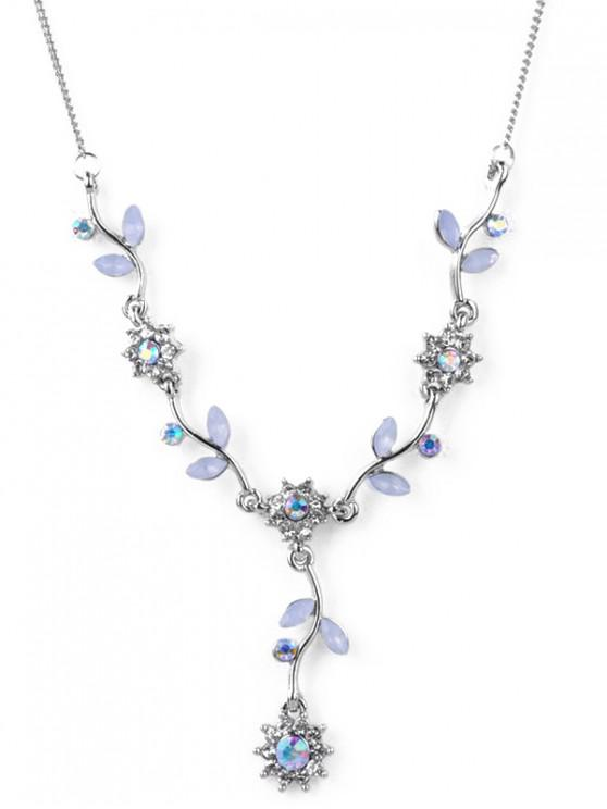 ladies Artificial Crystal Flower Pendant Necklace - SILVER