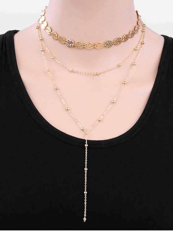 outfit Metal Disc Shape Y Necklace - GOLD